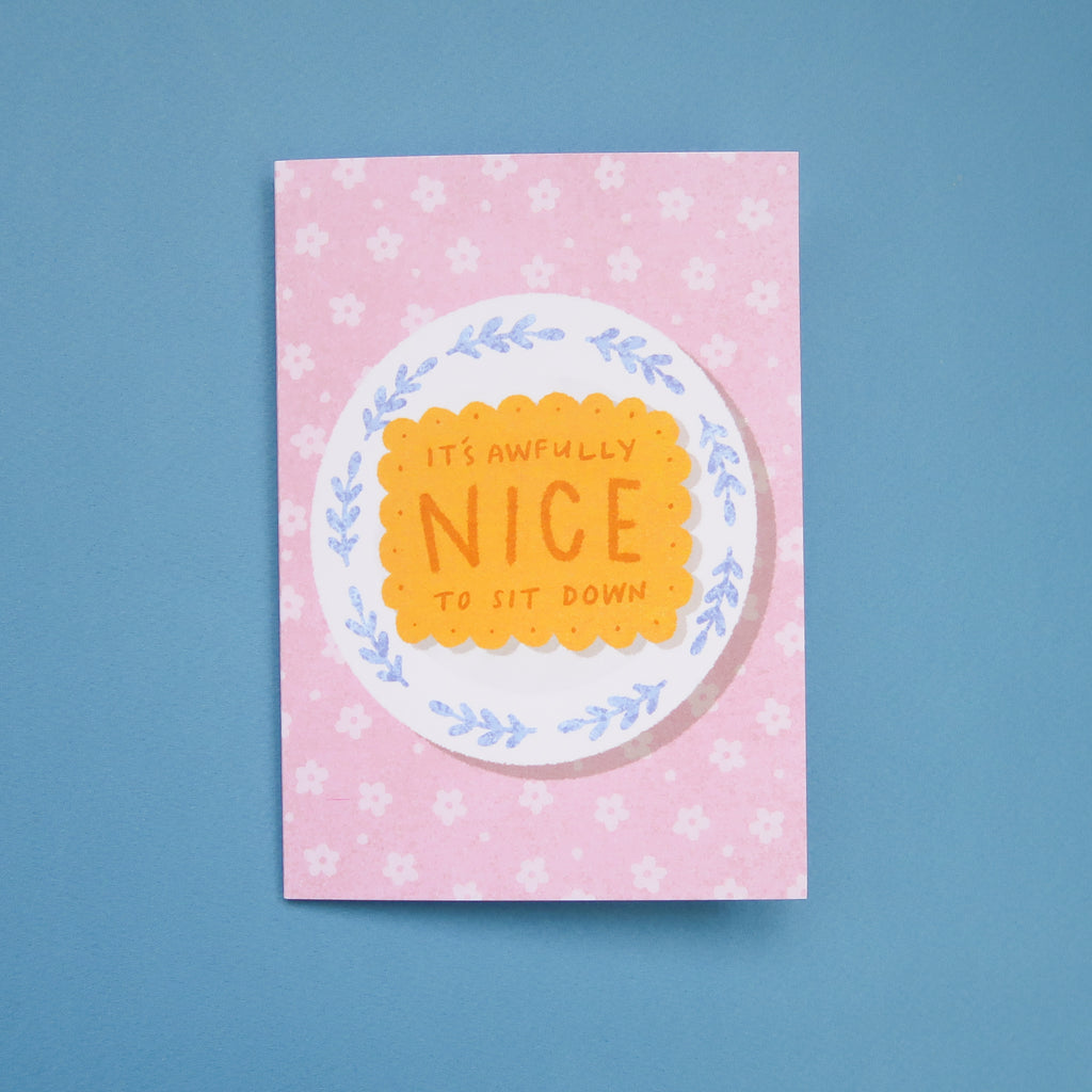 It's Awfully Nice to Sit Down Greetings Card