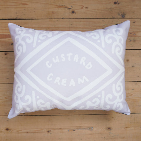 Monochrome Custard Cream Printed Cushion