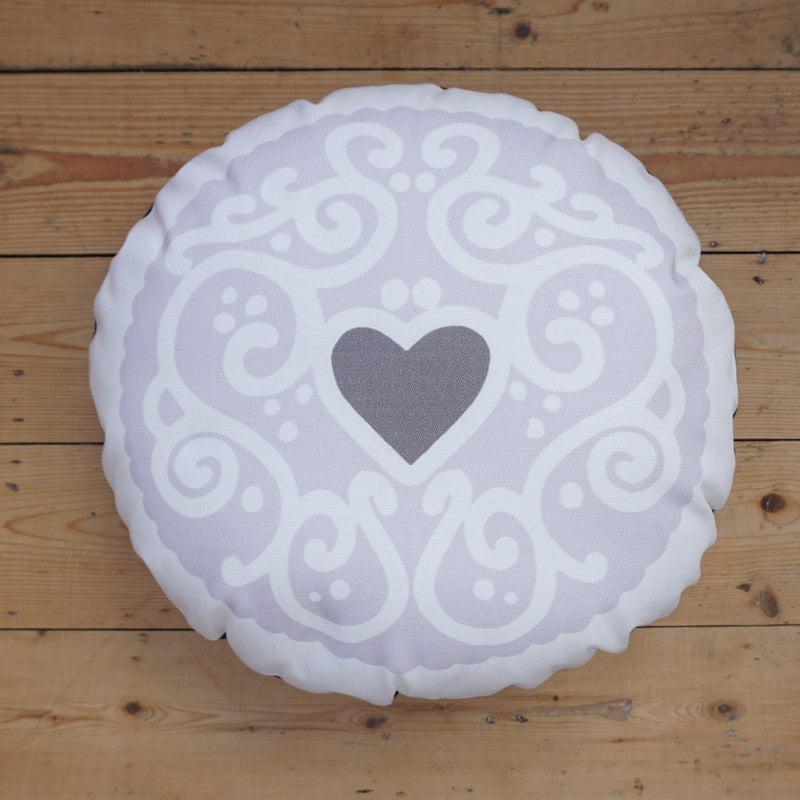 Monochrome Jammy Heart Printed Cushion