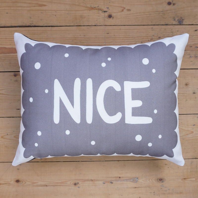 Monochrome Nice Biscuit Printed Cushion