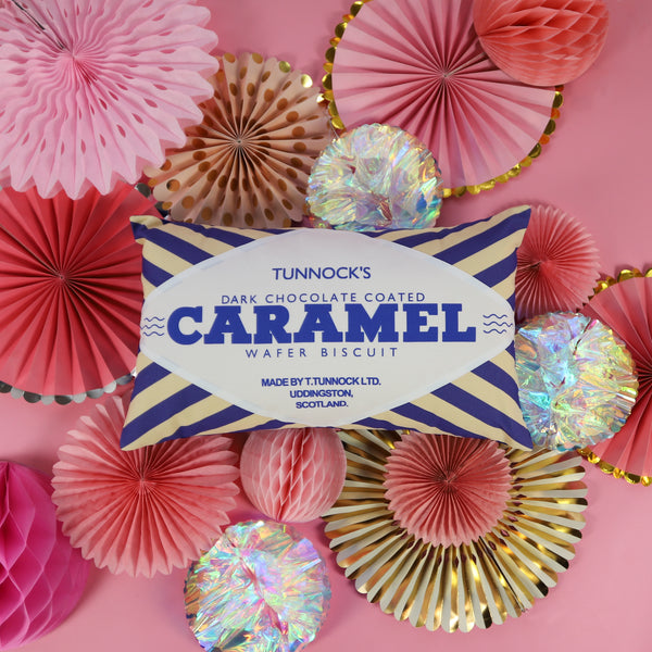 Tunnock's Dark Chocolate Caramel Wafer Printed Cushion