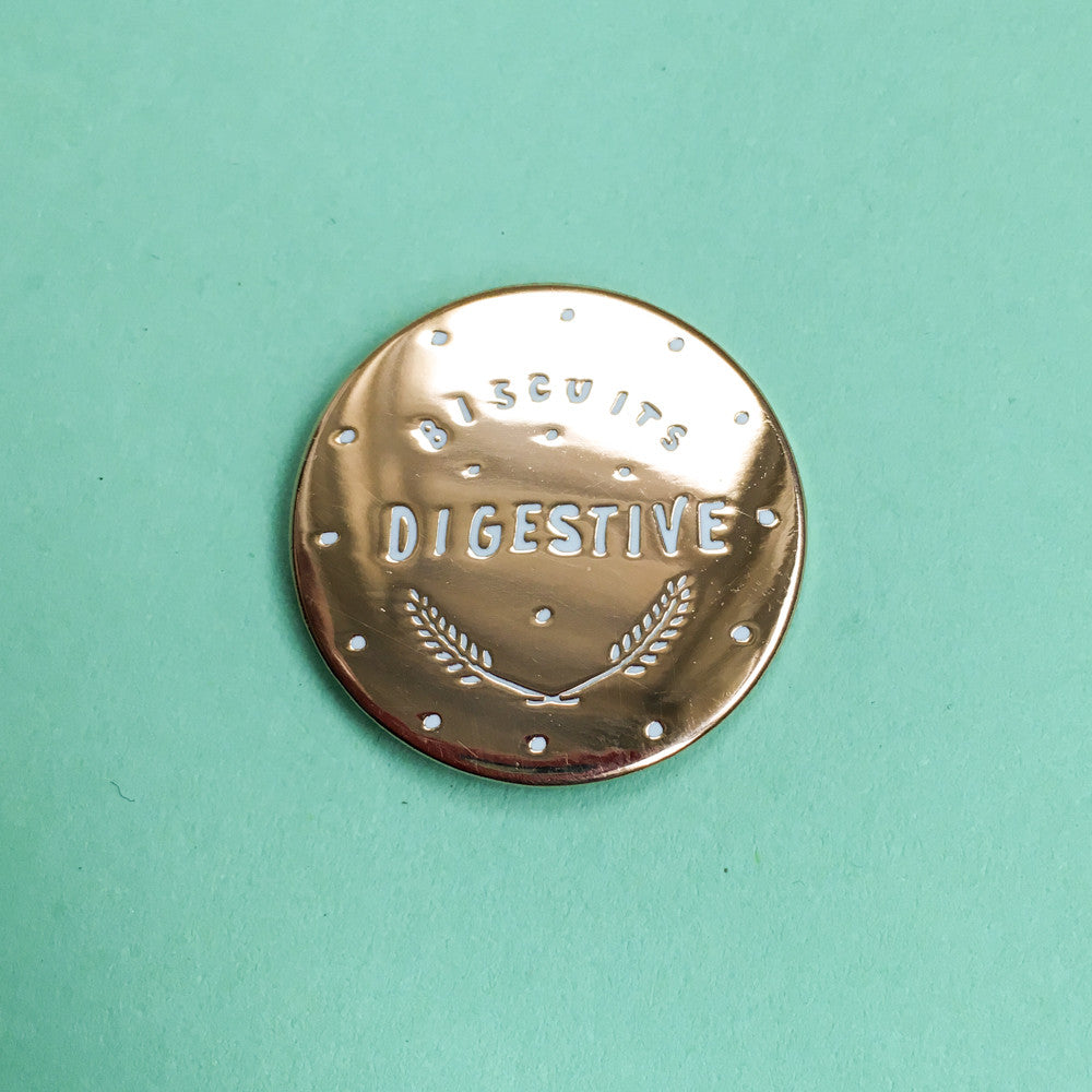 Rose Gold Digestive Biscuit Enamel Pin