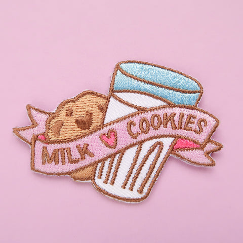 Milk and Cookies Iron-On Embroidered Patch