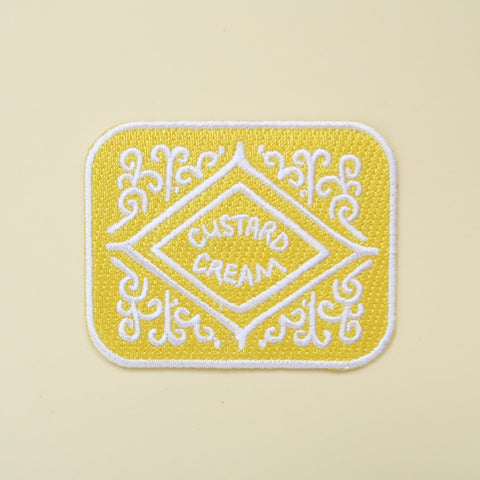 Custard Cream Iron-On Embroidered Patch