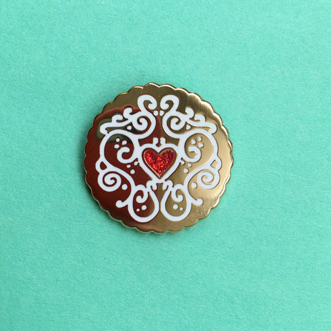 Golden Jammy Heart Biscuit Enamel Pin