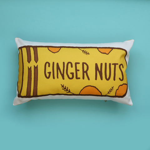 Packet of Ginger Nut Biscuits Printed Cushion