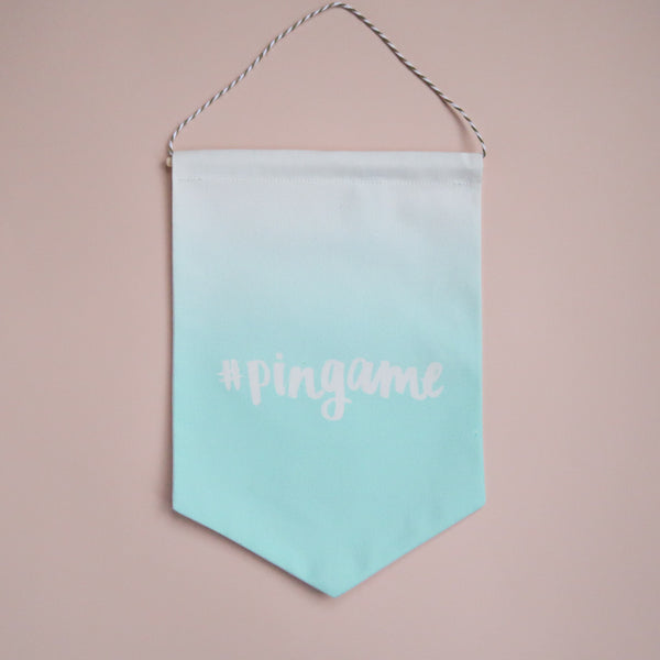 #pingame Printed Fabric Banner - Mint Ombre