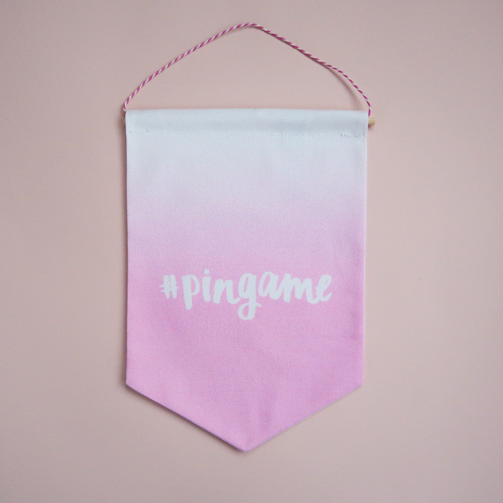 #pingame Printed Fabric Banner - Pink Ombre