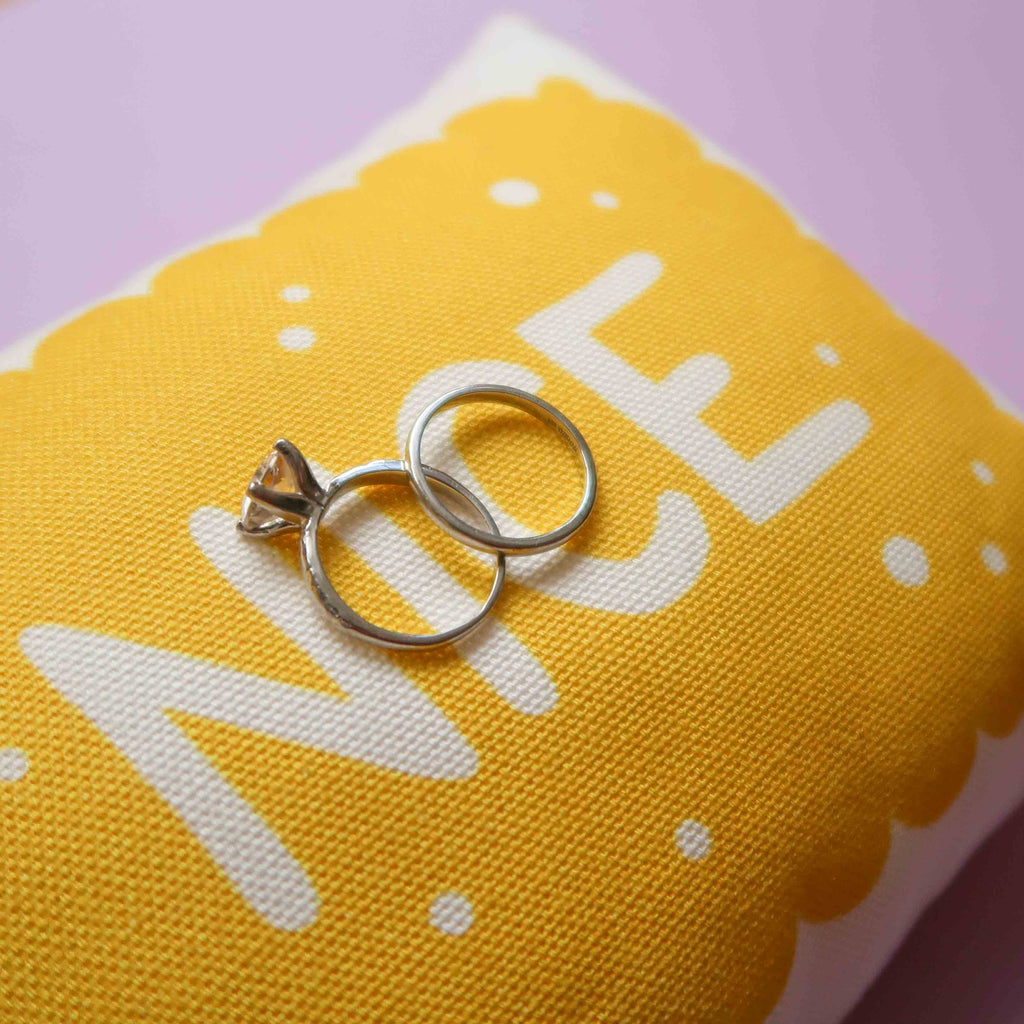 Biscuit Wedding Ring Pillow