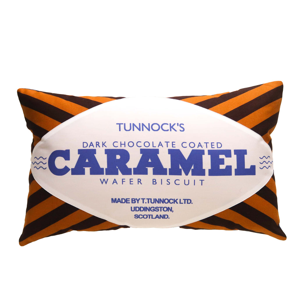 SALE - Tunnocks Caramel Wafer - Dark Chocolate Printed Cushion