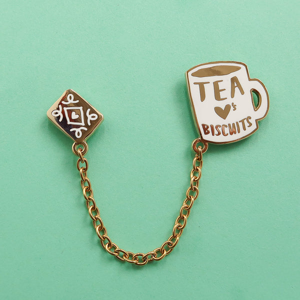 Tea Loves Biscuits Chained Enamel Pin Duo
