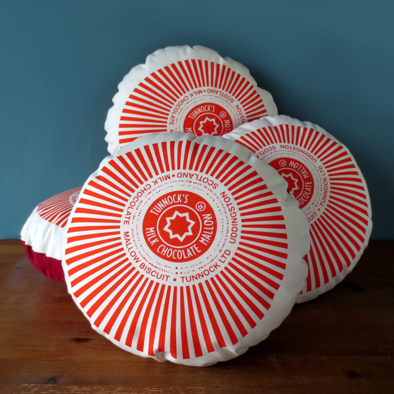 Original Tunnocks Teacake Cushion by Nikki McWilliams