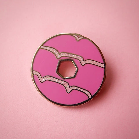 Pink Glitter Party Ring Enamel Pin