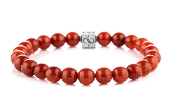 Classic Red Crackle Agate, 8mm,  Silver
