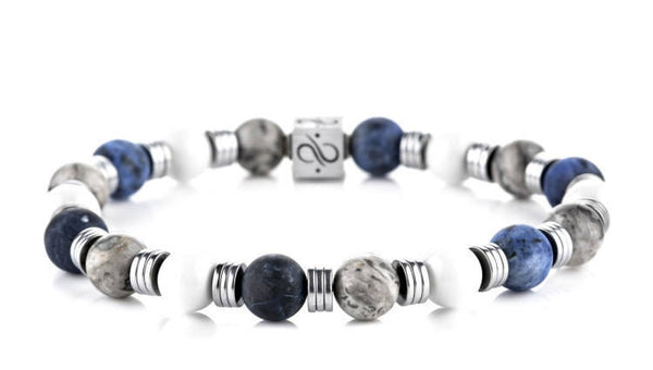 Wired Navy Mixed, 8mm, Silver bracelet