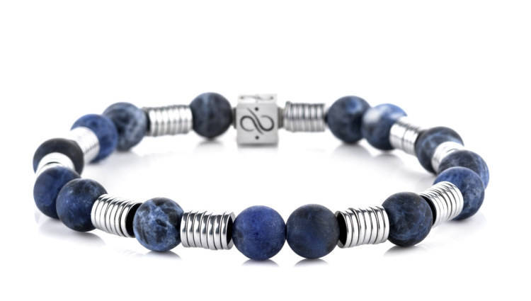 Long Wired Matte Sodalite, 8mm, Silver bracelet