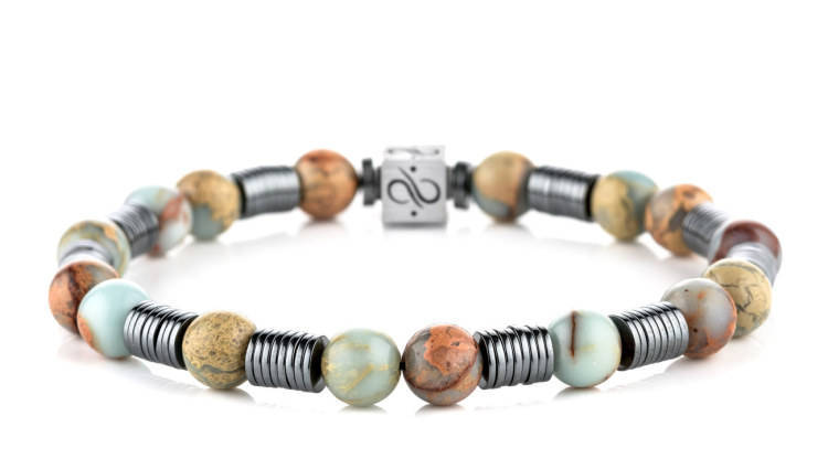 Long Wired Regalite Jasper, 8mm, Silver bracelet