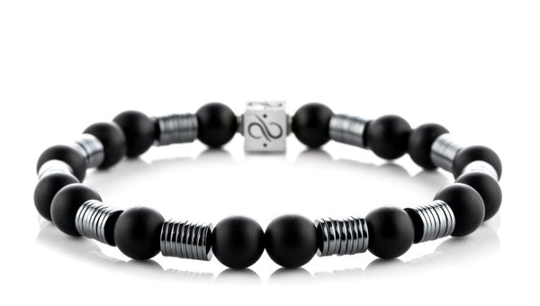 Long Wired Matte Obsidian, 8mm, Silver bracelet