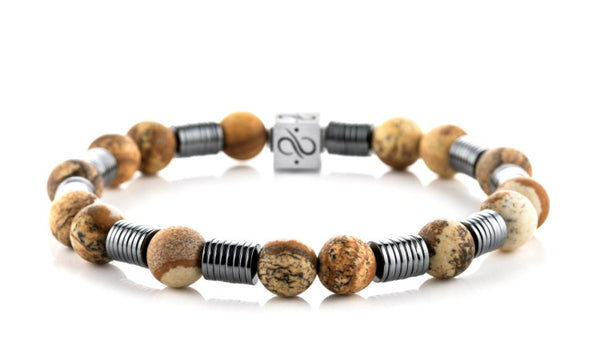 Long Wired Matte Landscape Jasper, 8mm, Silver bracelet