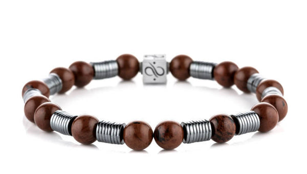 Long Wired Mahogany Obsidian, 8mm, Silver bracelet