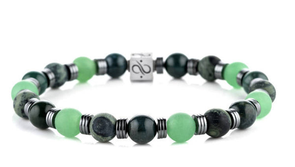 Wired Pine Mixed, 8mm, Silver bracelet