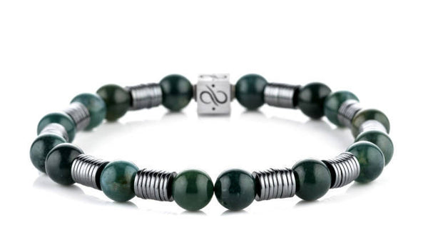 Long Wired Green Plants Agate, 8mm, Silver bracelet
