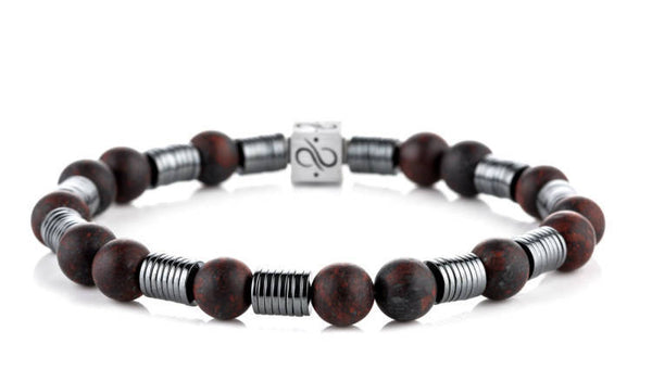 Long Wired Matte Brecciated Jasper, 8mm, Silver bracelet