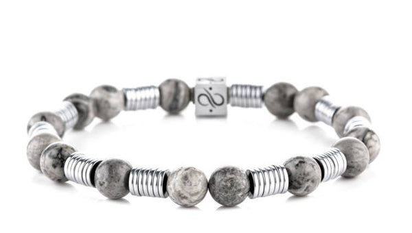Long Wired Picasso Jasper, 8mm, Silver bracelet