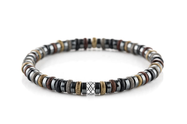 Abacus Dark Hematite - Brown/Black, 6mm, Silver bracelet