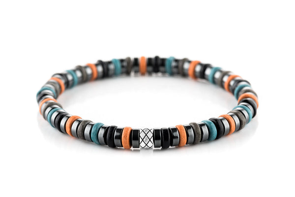 Abacus Dark Hematite - Orange/Blue/Black, 6mm, Silver bracelet
