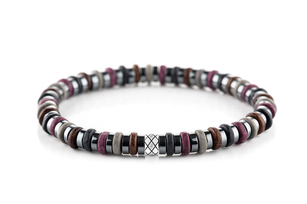 Abacus Dark Hematite - Purple/Brown/Black, 6mm, Silver bracelet