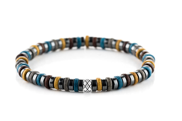 Abacus Dark Hematite - Yellow/Blue, 6mm, Silver bracelet