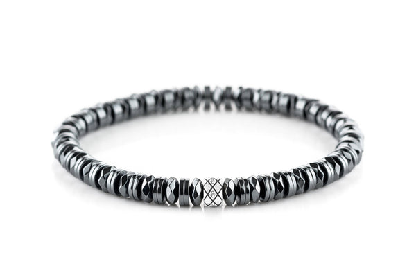 Abacus Double Disc Dark Hematite, 6mm, Silver bracelet