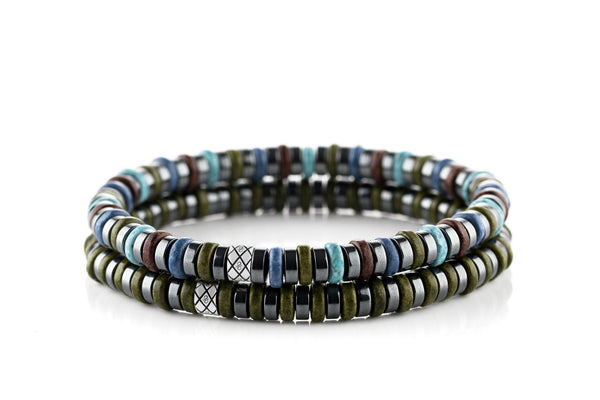 Abacus Set Dark Hematite - Blue/Green