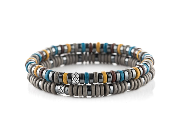Abacus Set Dark Hematite - Yellow/Blue/Grey