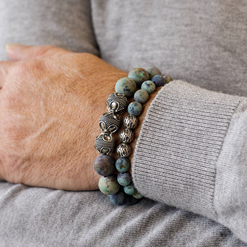 Premium Matte African Turquoise, 12mm, Silver bracelet