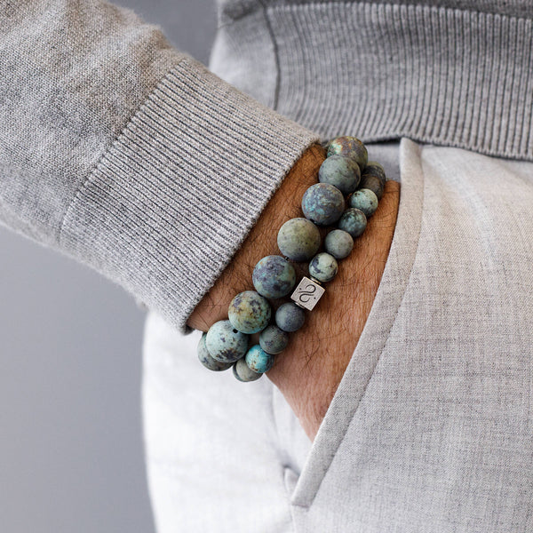 Classic Matte African Turquoise, 8mm, Silver bracelet