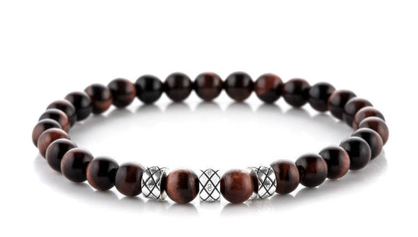 Prime Abacus Red Tiger Eye, 6mm, Silver bracelet