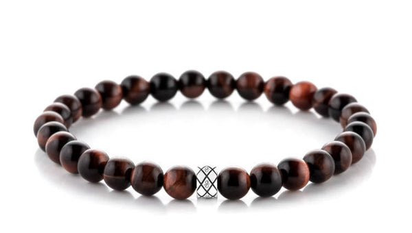Abacus Red Tiger Eye, 6mm, Silver bracelet