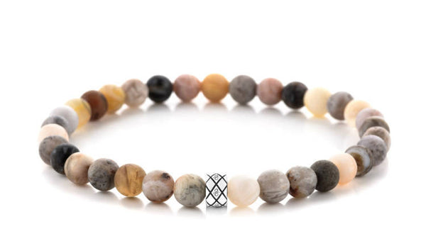 Abacus Matte Bamboo Leaf Agate, 6mm, Silver bracelet