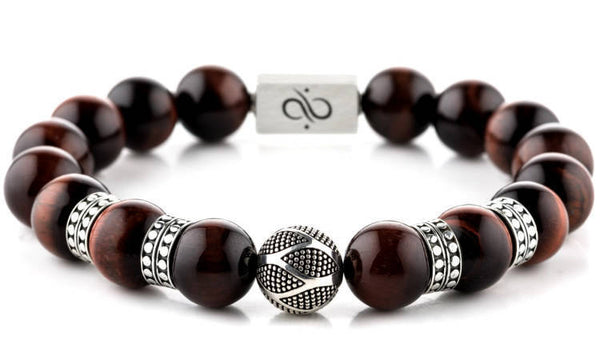 Classic Orbis Red Tiger Eye, 12mm, Silver bracelet