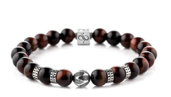 Classic Orbis Red Tiger Eye, 8mm, Silver bracelet