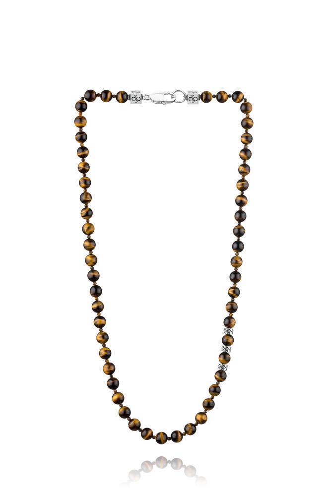 Prime Double Tiger Eye, 8mm, Silver necklace