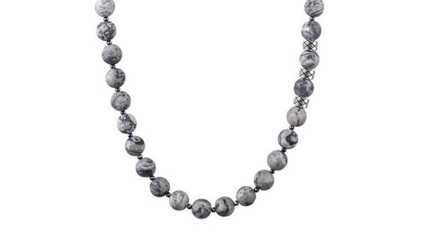 Prime Matte Picasso Jasper and Hematite, 8mm, Silver necklace