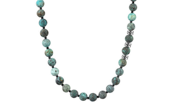 Prime Matte African Turquoise and Black Spinel, 8mm, Silver necklace