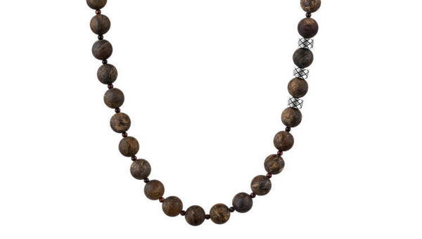Prime Matte Bronzite and Red Tiger Eye, 8mm, Silver necklace