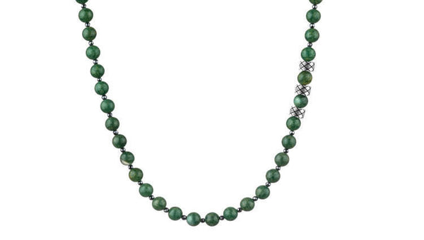 Prime African Jade and Hematite, 6mm, Silver necklace