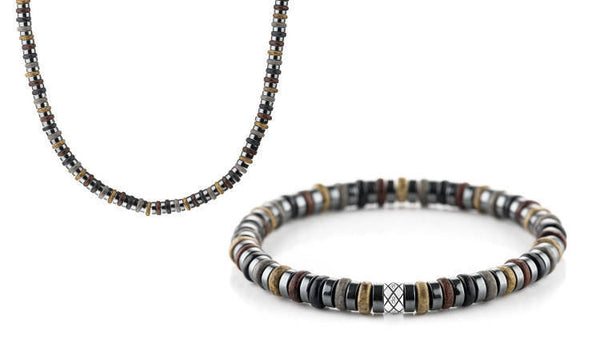 Necklace Dark Hematite - Brown/Black Set