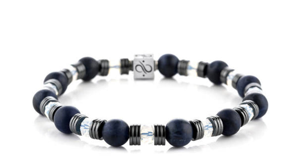 Wired Matte Dark Sodalite, 8mm, Silver bracelet