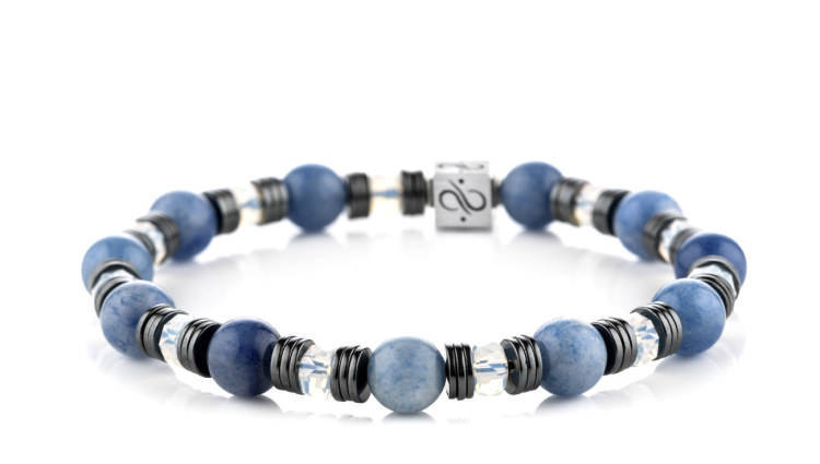 Wired Blue Quartz, 8mm, Silver bracelet